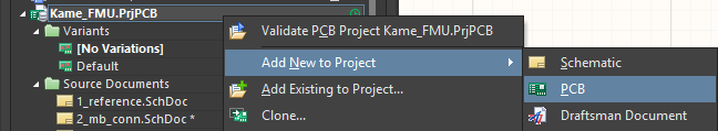 Kame_FMU.PrjPCB has been added to the project but is not yet commited